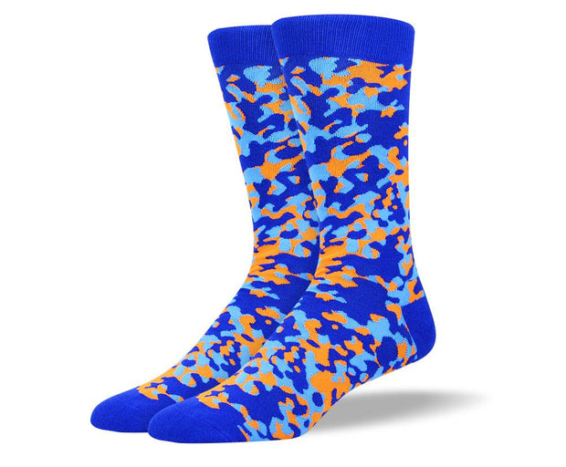 Men's Pattern Blue & Orange Camouflage Socks