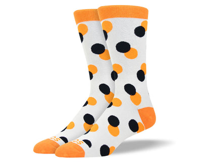 Men's Grey & Orange Twin Polka Dot Socks