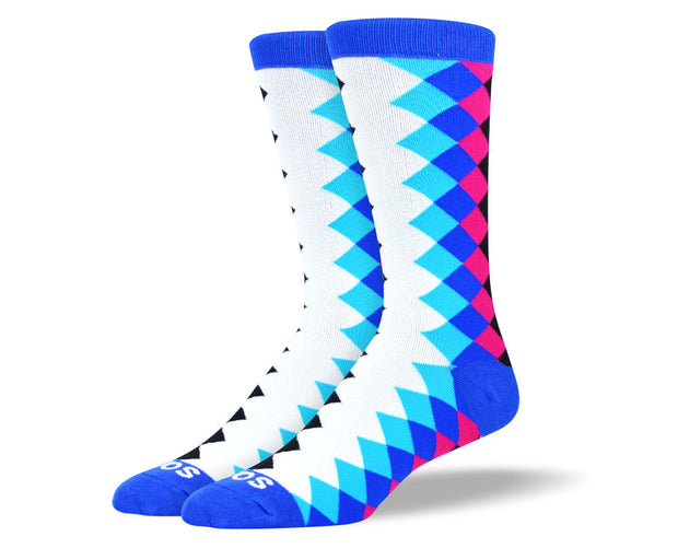 Men's Blue & Pink Diamond Socks