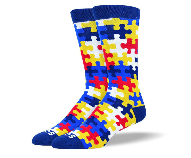 Men's Pattern Blue & Red Puzzle Sock