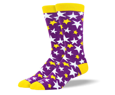 Men's Purple White & Yellow Stars Socks