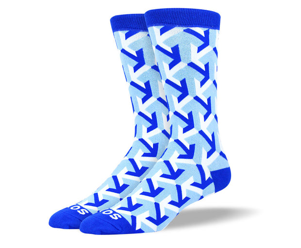 Men's Blue & White Arrow Socks