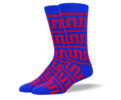 Men's Blue & Red Aztec Pattern Socks