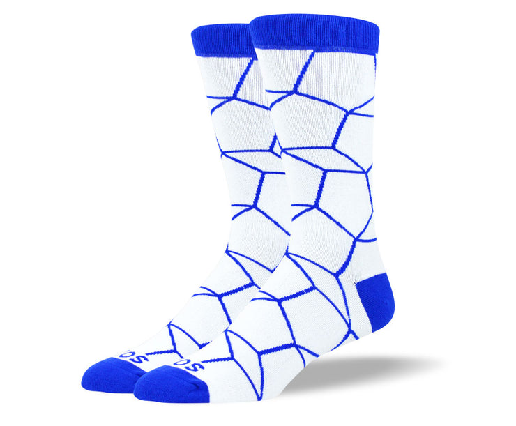 Men's Blue & White Pentagon Socks