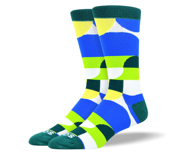Men's Green & Blue Geometric Sock