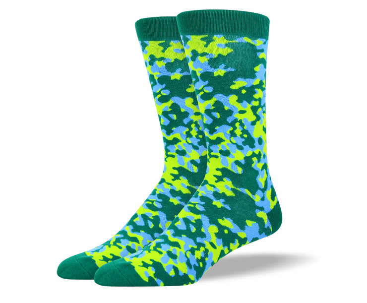 Men's Green & Blue Camouflage Socks
