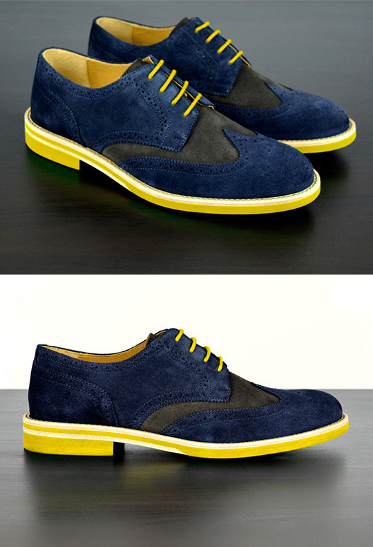 Mens Blue & Yellow Suede Wingtip Dress Shoes
