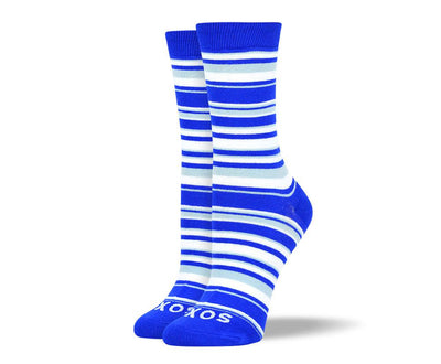 Women's Fancy Blue & White Thin Stripes Socks