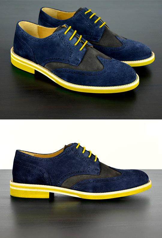 Mens Blue & Yellow Suede Wingtip Dress Shoes - Size 11