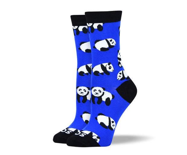 Women's Crazy Blue Panda Socks