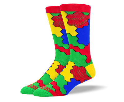 Men's Red Jigsaw Socks for Autism