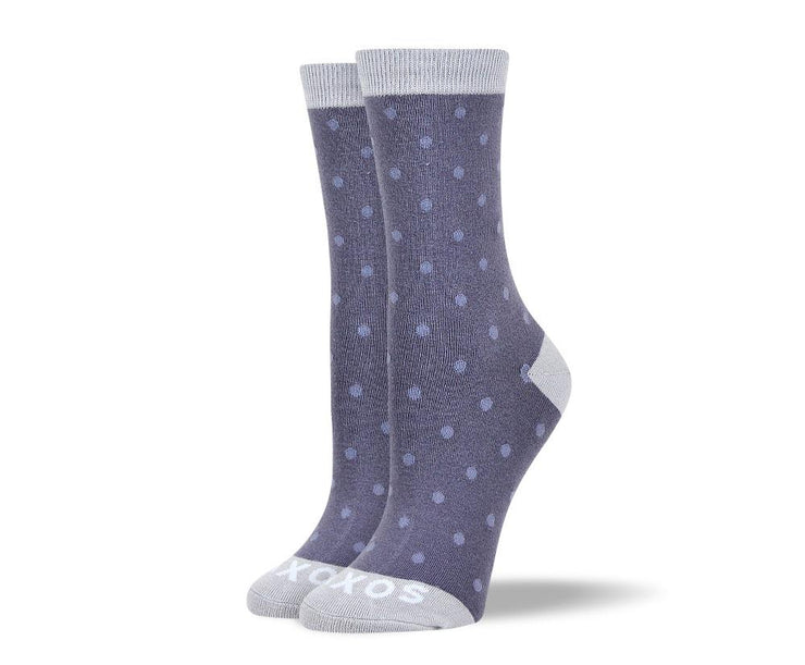 Women's Trendy Grey Small Polka Dots Socks
