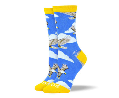 Women's Pattern Blue Flying Bird Socks