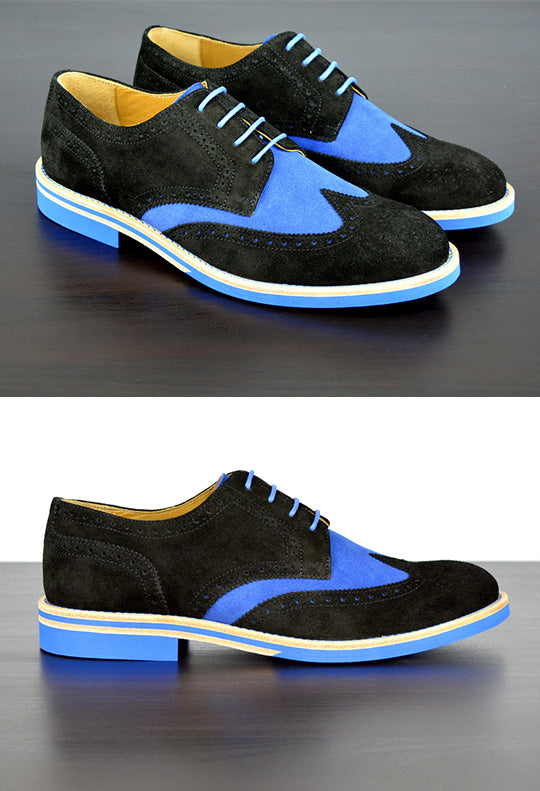 Mens Black & Blue Suede Wingtip Dress Shoes