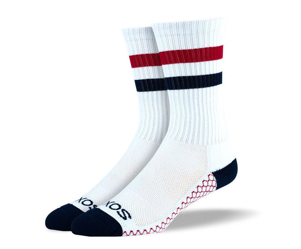 Mens White & Red Crew Athletic Socks