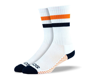 Mens White & Orange Crew Athletic Socks