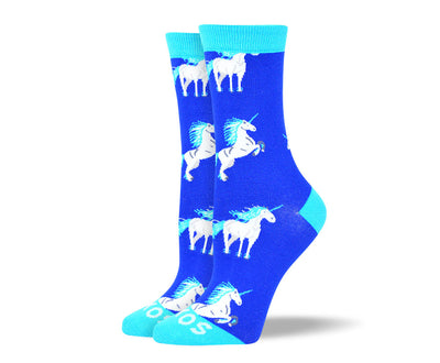 Women's Funny Blue Unicorn Socks
