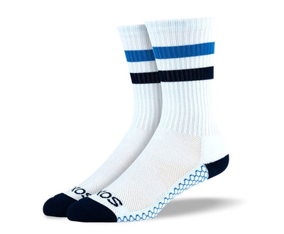 Mens White & Blue Crew Athletic Socks