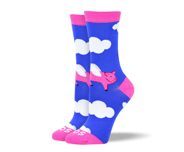 Women's Funny Flying Pig Socks