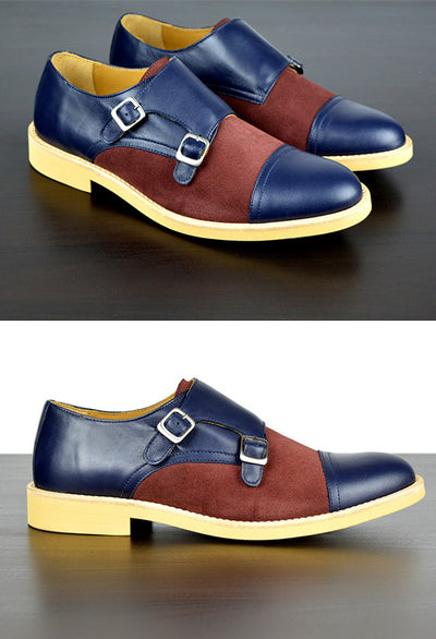 Mens Blue & Maroon Leather Double Monk Strap Dress Shoes