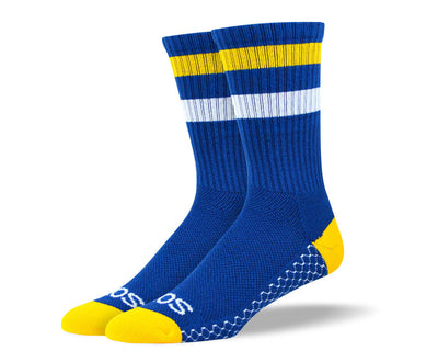 Women's Blue & Yellow Athletic Crew Socks