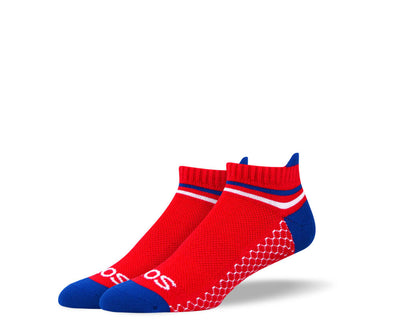 Men's Red & Blue Athletic Ankle Socks