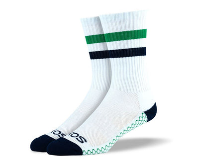 Mens White & Green Crew Athletic Socks