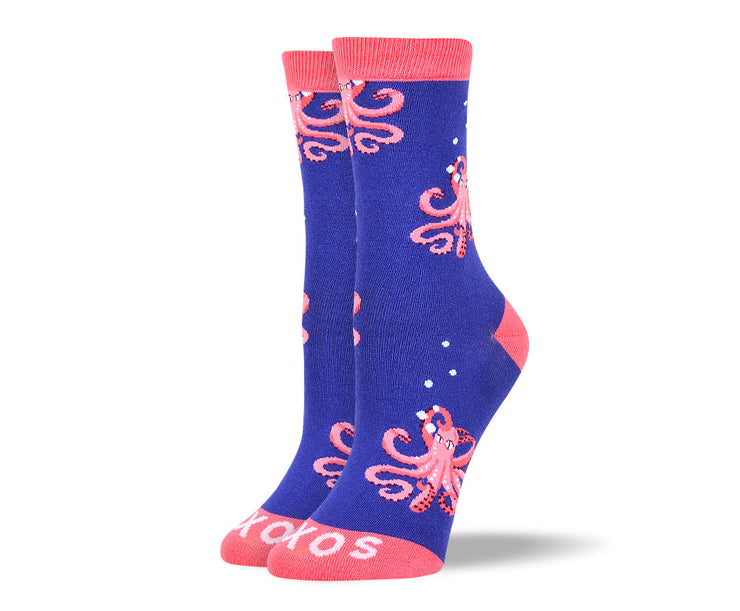 Women's Fun Blue Octopus Socks