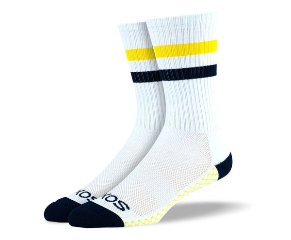 Mens White & Yellow Crew Athletic Socks