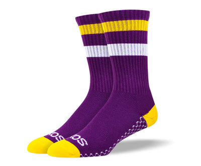 Women's Purple & Yellow Athletic Crew Socks
