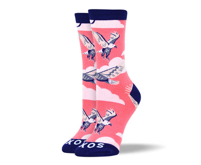 Women's Fun Pink Flying Bird Socks