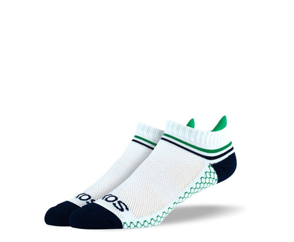 Men's White Green Stripes Athletic Ankle Socks