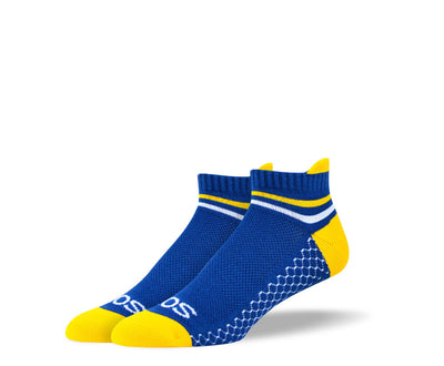Men's Blue & Yellow Athletic Ankle Socks