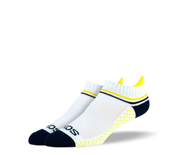 Men's White Yellow Stripes Athletic Ankle Socks