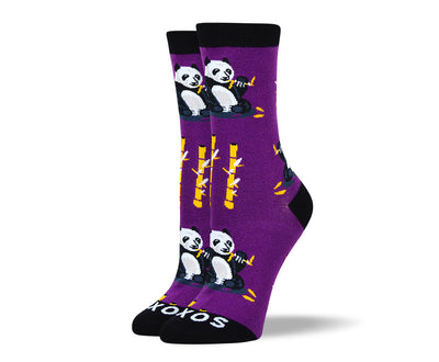 Women's Funny Purple Panda Socks