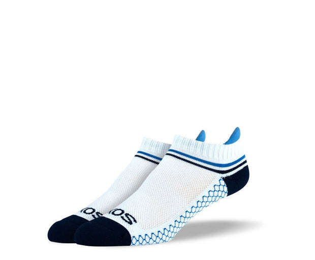 Men's White Blue Stripes Athletic Ankle Socks