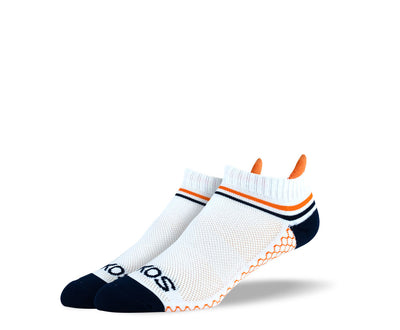 Women's White Orange Stripes Athletic Ankle Socks