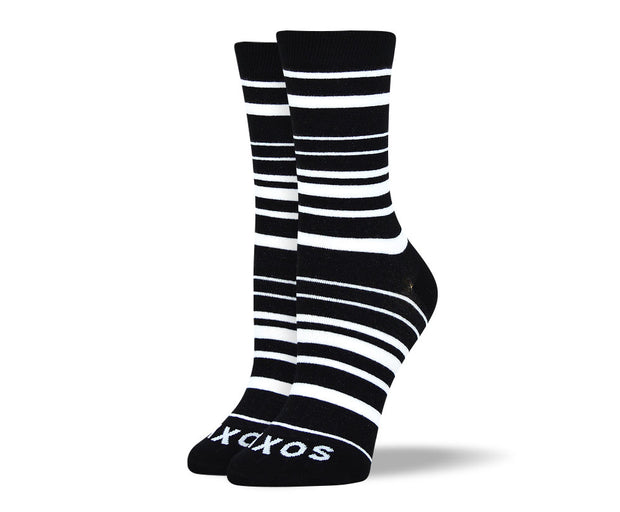 Women's Black & White Thin Stripes Socks