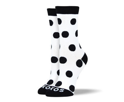 Women's White & Black Big Dots Socks