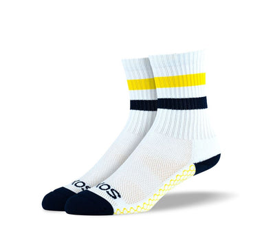 Women's White Yellow Stripes Athletic Crew Socks
