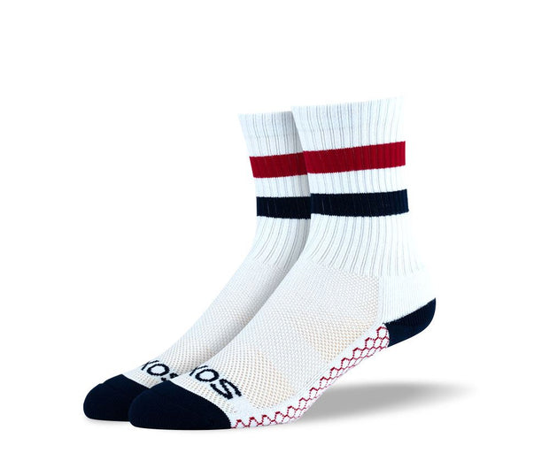 Women's White Red Stripes Athletic Crew Socks