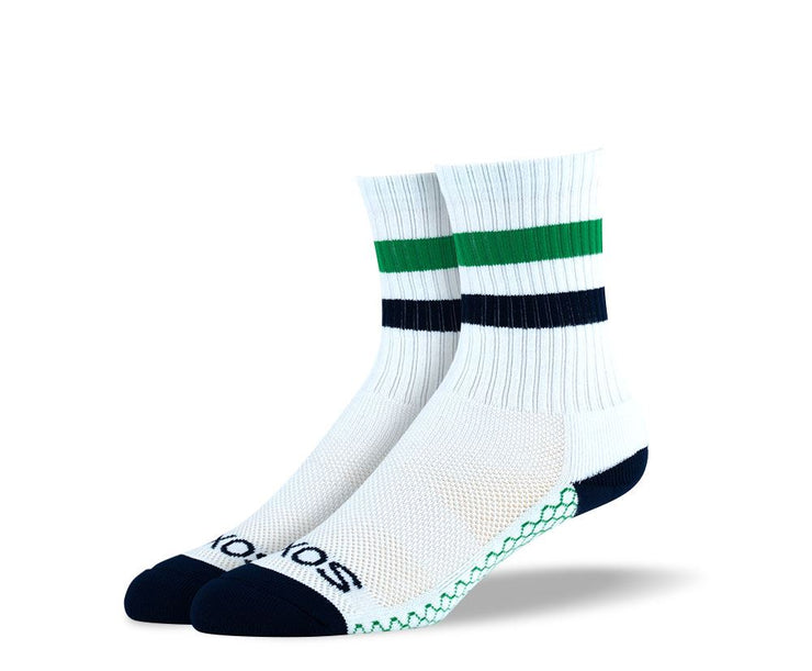 Women's White Green Stripes Athletic Crew Socks