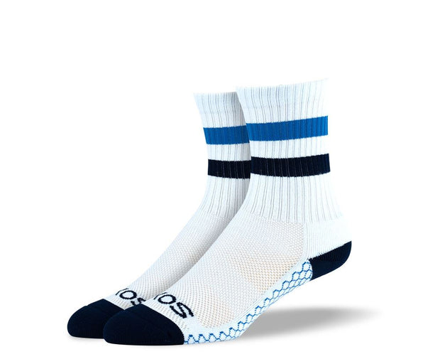 Women's White Blue Stripes Athletic Crew Socks