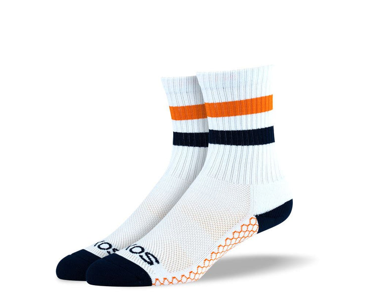Women's White Orange Stripes Athletic Crew Socks