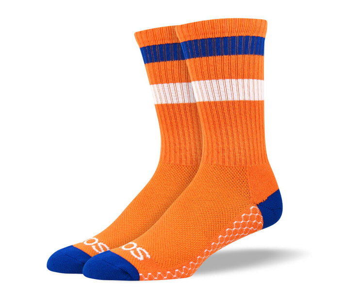 Women's Orange & Blue Athletic Crew Socks
