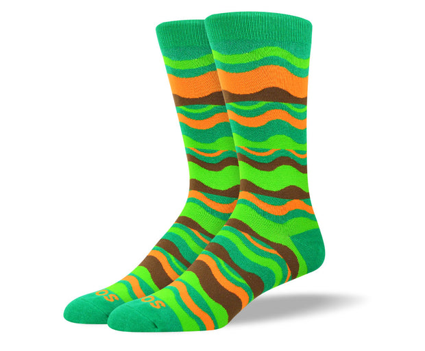 Men's Crazy Green Waves Socks
