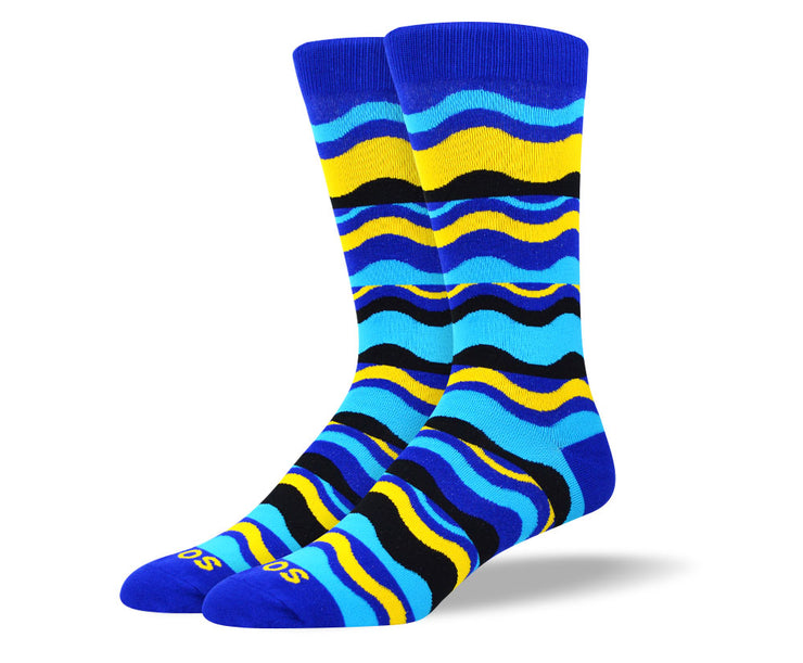 Men's Crazy Blue Waves Socks