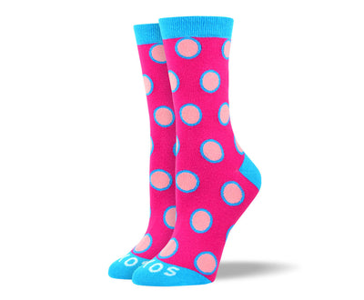 Women's Fun Pink Polka Dot Socks