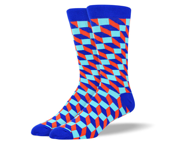 Men's Crazy Blue 3D Cube Socks