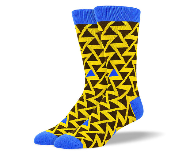 Men's Bold Yellow Zig Zag Socks